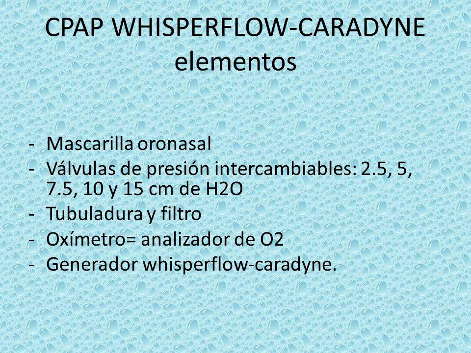 CPAP WHISPERFLOW-CARADYNE elementos -Mascarilla oronasal -Válvulas de presión intercambiables: 2.5, 5, 7.5, 10 y 15 cm de H2O -Tubuladura y filtro -Ox