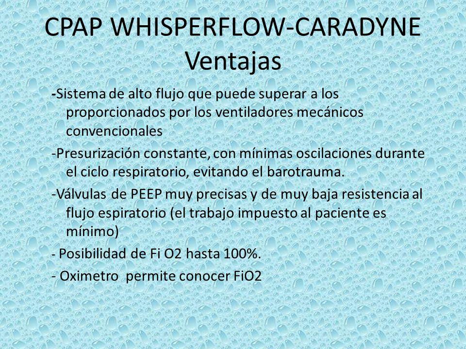 CPAP WHISPERFLOW-CARADYNE Ventajas -Sistema de alto flujo que puede superar a los proporcionados por los ventiladores mecánicos convencionales -Presur