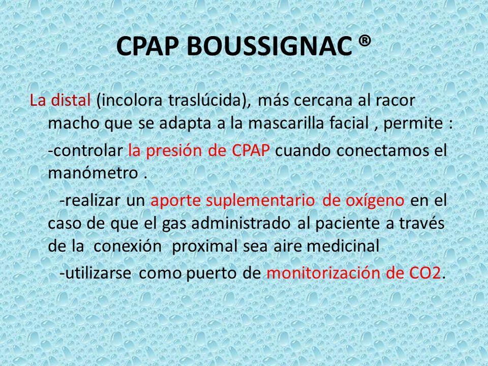 CPAP BOUSSIGNAC ® La distal (incolora traslúcida), más cercana al racor macho que se adapta a la mascarilla facial, permite : -controlar la presión de