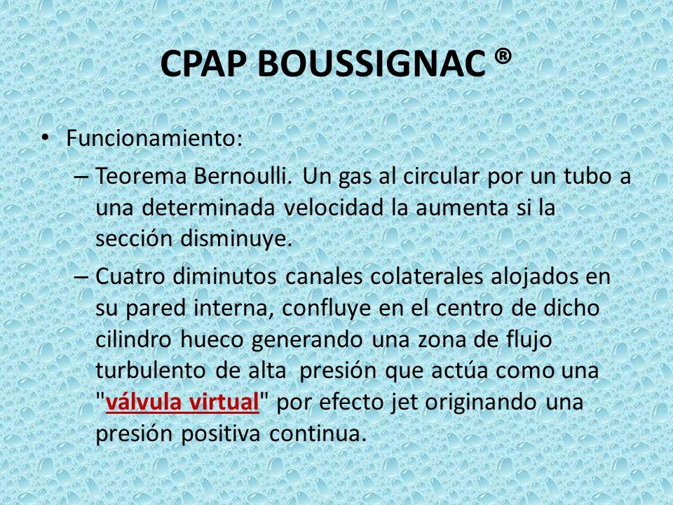 CPAP BOUSSIGNAC ® Funcionamiento: – Teorema Bernoulli. Un gas al circular por un tubo a una determinada velocidad la aumenta si la sección disminuye.