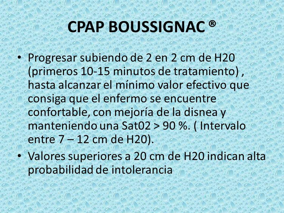 CPAP BOUSSIGNAC ® Progresar subiendo de 2 en 2 cm de H20 (primeros 10-15 minutos de tratamiento), hasta alcanzar el mínimo valor efectivo que consiga
