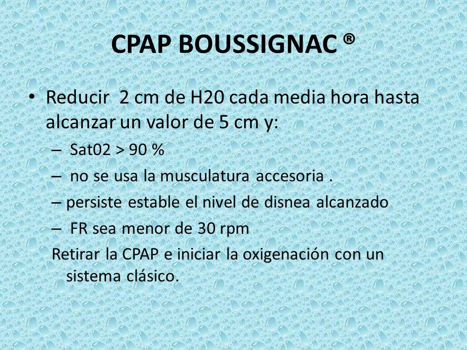 CPAP BOUSSIGNAC ® Reducir 2 cm de H20 cada media hora hasta alcanzar un valor de 5 cm y: – Sat02 > 90 % – no se usa la musculatura accesoria. – persis