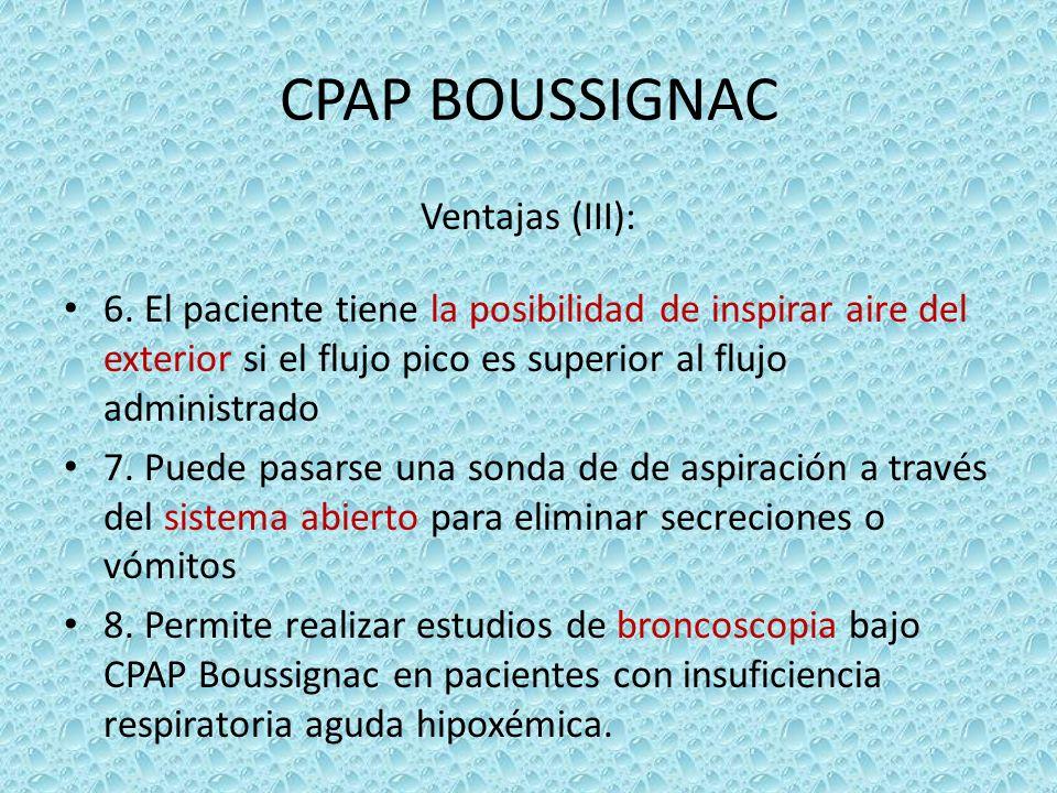 CPAP BOUSSIGNAC Ventajas (III): 6. El paciente tiene la posibilidad de inspirar aire del exterior si el flujo pico es superior al flujo administrado 7