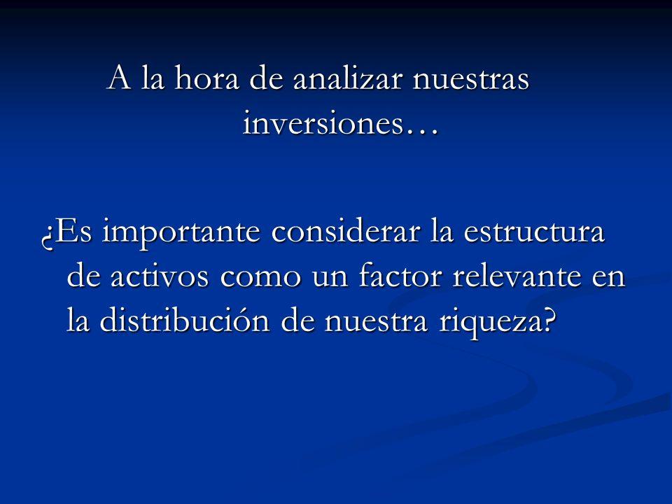A la hora de analizar nuestras inversiones… A la hora de analizar nuestras inversiones… ¿Es importante considerar la estructura de activos como un fac