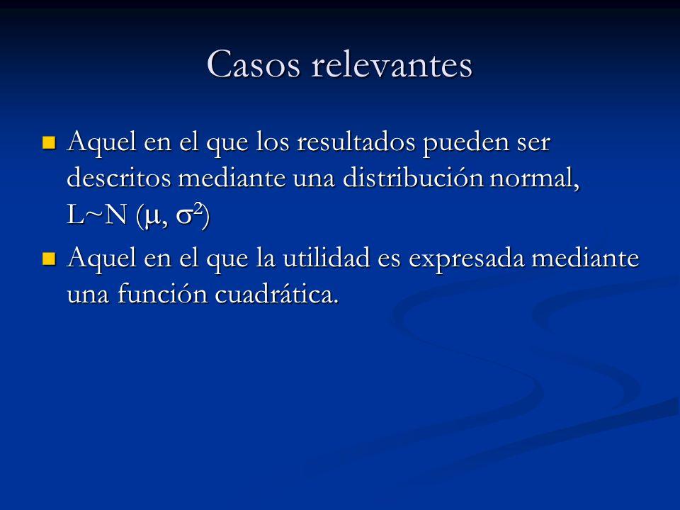 Casos relevantes Aquel en el que los resultados pueden ser descritos mediante una distribución normal, L~N (, 2 ) Aquel en el que los resultados puede