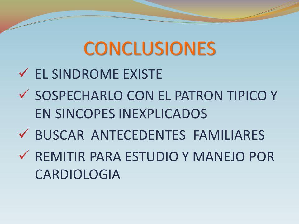 CONCLUSIONES EL SINDROME EXISTE SOSPECHARLO CON EL PATRON TIPICO Y EN SINCOPES INEXPLICADOS BUSCAR ANTECEDENTES FAMILIARES REMITIR PARA ESTUDIO Y MANE
