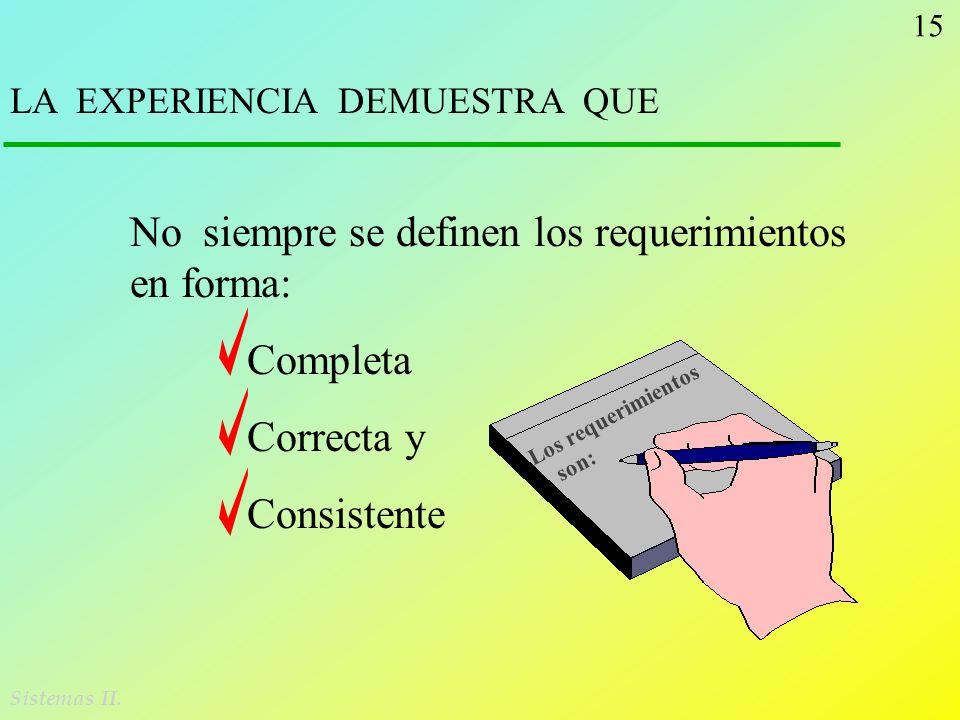 15 Sistemas II. LA EXPERIENCIA DEMUESTRA QUE No siempre se definen los requerimientos en forma: Completa Correcta y Consistente Los requerimientos son
