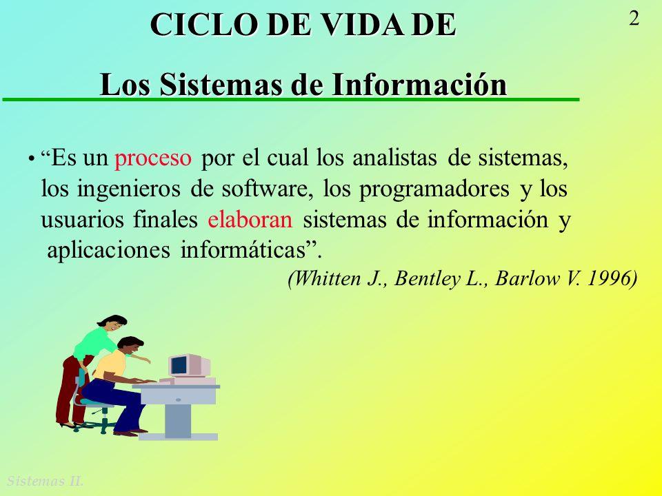 2 Sistemas II. CICLO DE VIDA DE Los Sistemas de Información Es un proceso por el cual los analistas de sistemas, los ingenieros de software, los progr