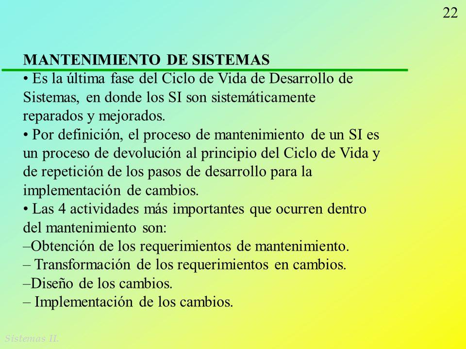 22 Sistemas II. MANTENIMIENTO DE SISTEMAS Es la última fase del Ciclo de Vida de Desarrollo de Sistemas, en donde los SI son sistemáticamente reparado