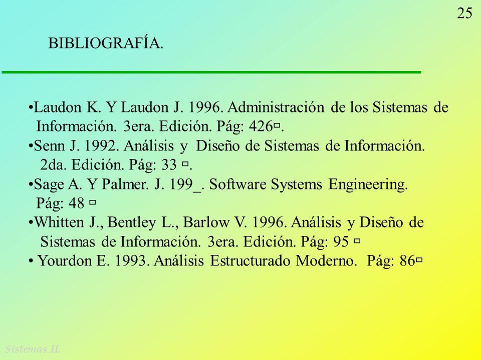 25 Sistemas II. BIBLIOGRAFÍA. Laudon K. Y Laudon J. 1996. Administración de los Sistemas de Información. 3era. Edición. Pág: 426. Senn J. 1992. Anális