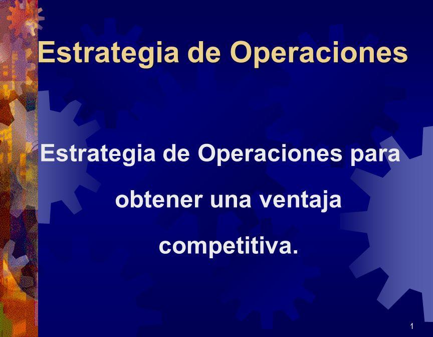 Estrategia de Operaciones Estrategia de Operaciones para obtener una ventaja competitiva. 1