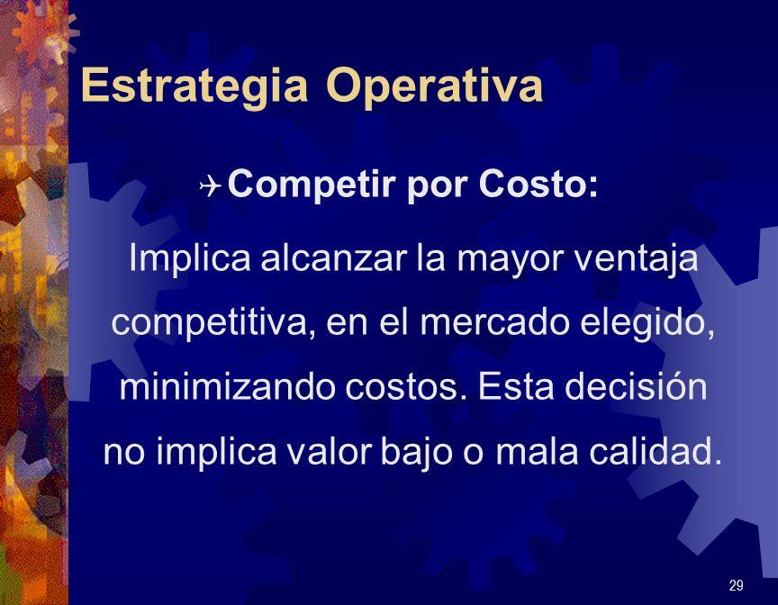 Estrategia Operativa Q Competir por Costo: Implica alcanzar la mayor ventaja competitiva, en el mercado elegido, minimizando costos. Esta decisión no
