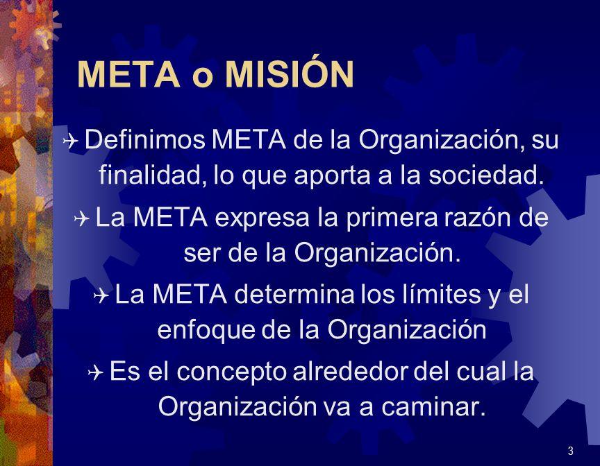 META o MISIÓN Q Definimos META de la Organización, su finalidad, lo que aporta a la sociedad. Q La META expresa la primera razón de ser de la Organiza