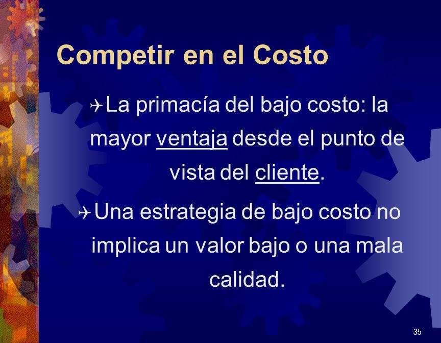 Competir en el Costo Q La primacía del bajo costo: la mayor ventaja desde el punto de vista del cliente. Q Una estrategia de bajo costo no implica un
