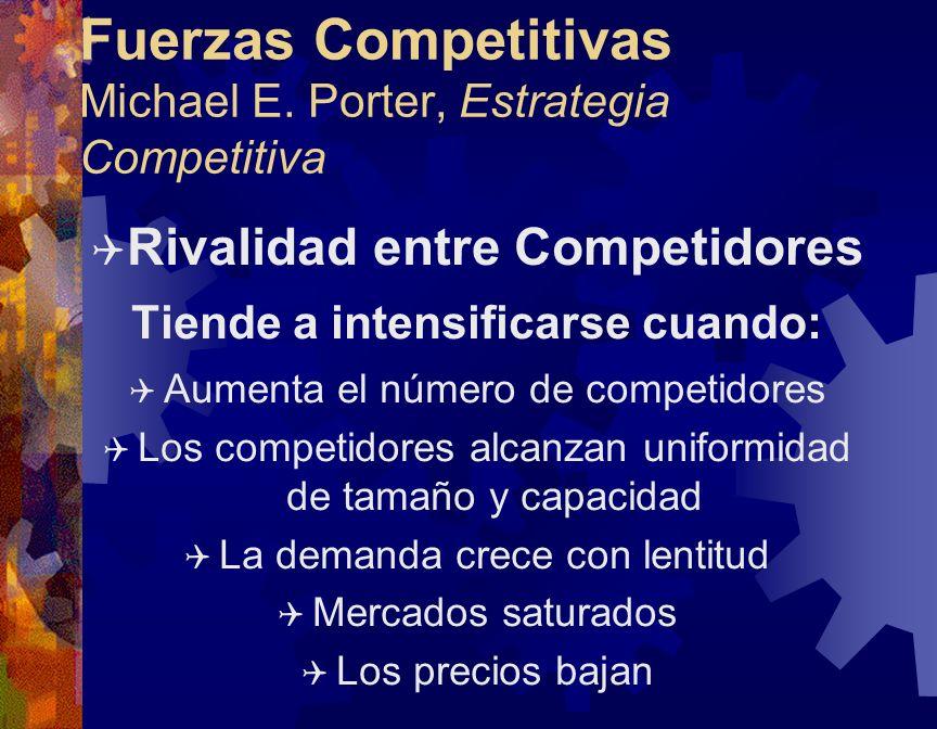 Fuerzas Competitivas Michael E. Porter, Estrategia Competitiva Q Rivalidad entre Competidores Tiende a intensificarse cuando: Q Aumenta el número de c