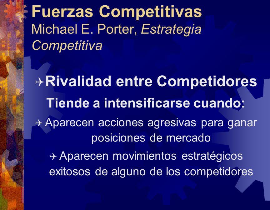 Fuerzas Competitivas Michael E. Porter, Estrategia Competitiva Q Rivalidad entre Competidores Tiende a intensificarse cuando: Q Aparecen acciones agre