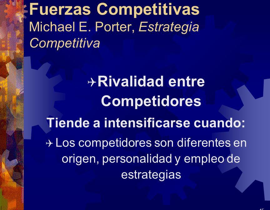 Fuerzas Competitivas Michael E. Porter, Estrategia Competitiva Q Rivalidad entre Competidores Tiende a intensificarse cuando: Q Los competidores son d