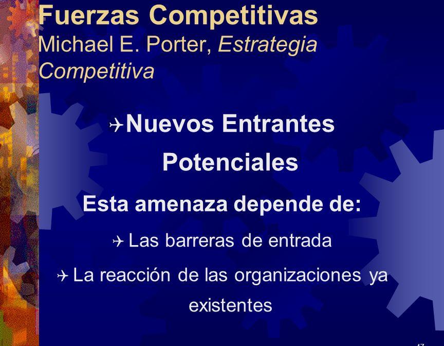 Fuerzas Competitivas Michael E. Porter, Estrategia Competitiva Q Nuevos Entrantes Potenciales Esta amenaza depende de: Q Las barreras de entrada Q La