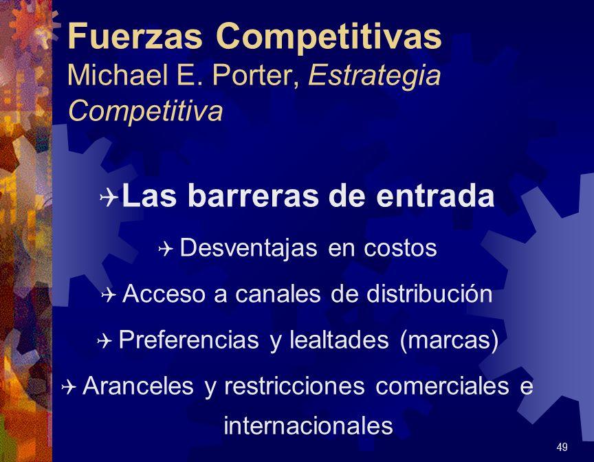 Fuerzas Competitivas Michael E. Porter, Estrategia Competitiva Q Las barreras de entrada Q Desventajas en costos Q Acceso a canales de distribución Q