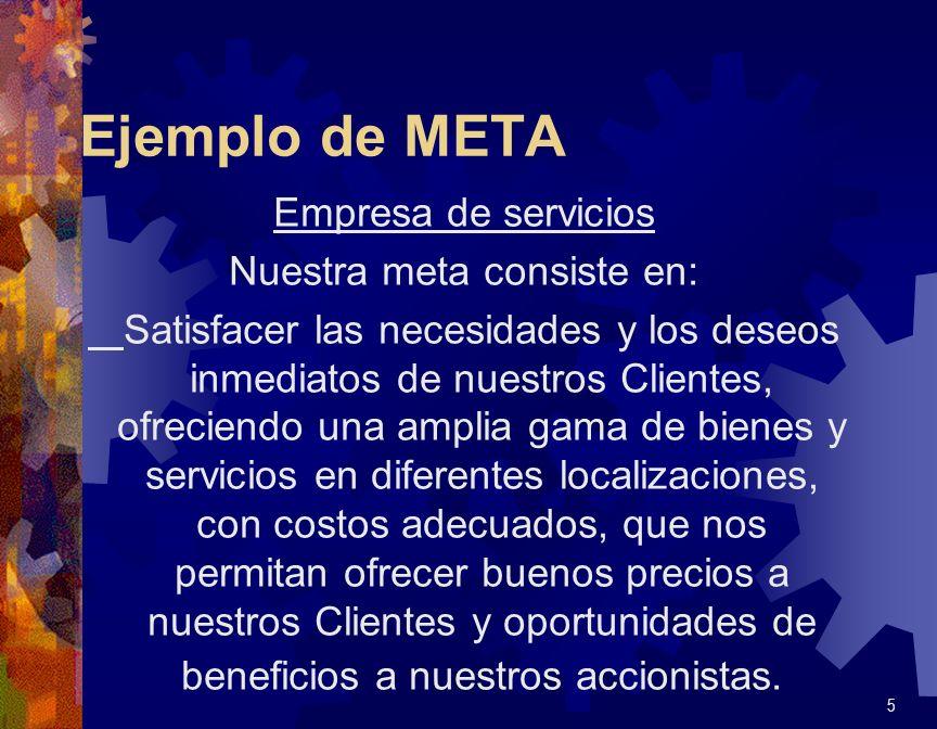 Ejemplo de META Empresa de servicios Nuestra meta consiste en: Satisfacer las necesidades y los deseos inmediatos de nuestros Clientes, ofreciendo una
