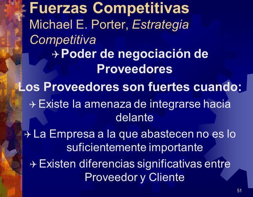 Fuerzas Competitivas Michael E. Porter, Estrategia Competitiva Q Poder de negociación de Proveedores Los Proveedores son fuertes cuando: Q Existe la a