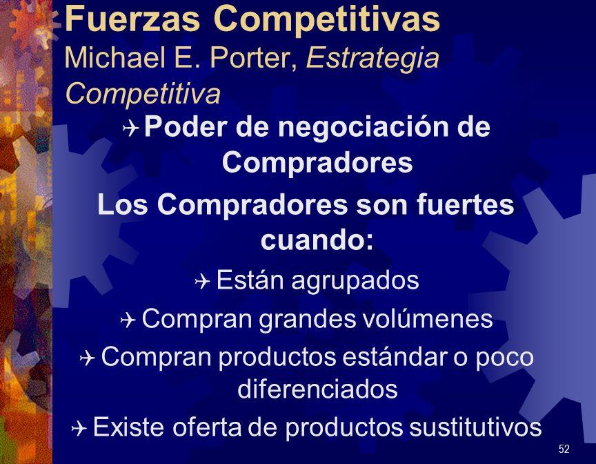 Fuerzas Competitivas Michael E. Porter, Estrategia Competitiva Q Poder de negociación de Compradores Los Compradores son fuertes cuando: Q Están agrup