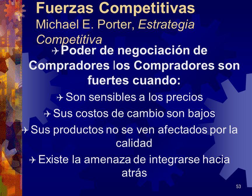 Fuerzas Competitivas Michael E. Porter, Estrategia Competitiva Q Poder de negociación de Compradores los Compradores son fuertes cuando: Q Son sensibl