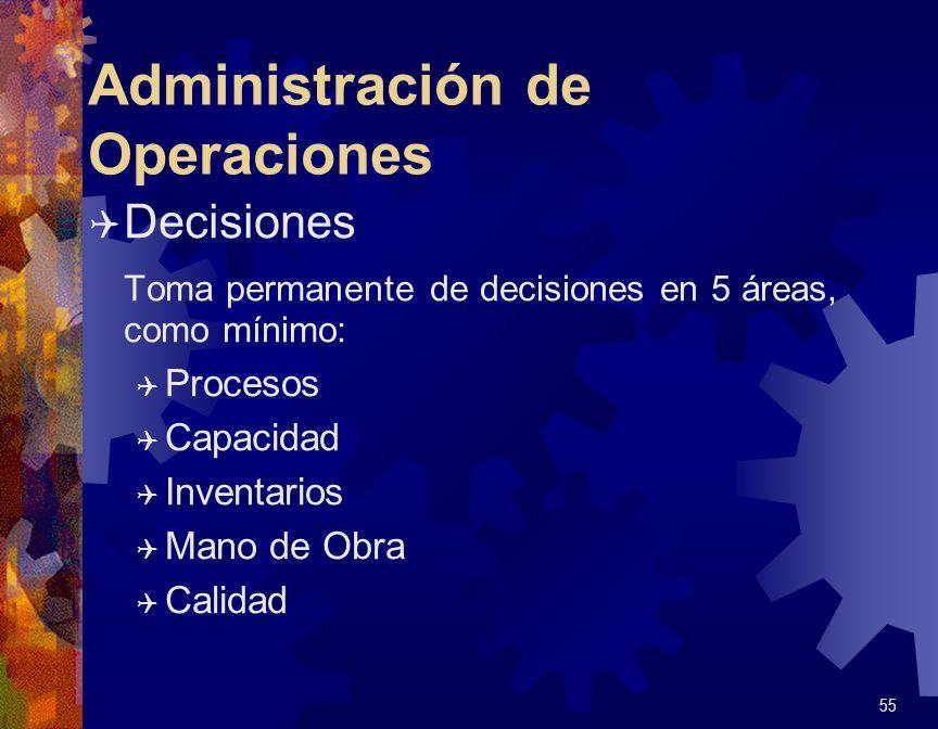 Administración de Operaciones Q Decisiones - Procesos Determinación del proceso físico o instalación a utilizar en la producción del bien o del servicio Q Equipo y Tecnología Q Flujo de Proceso Q Lay out de plantas y depósitos 56