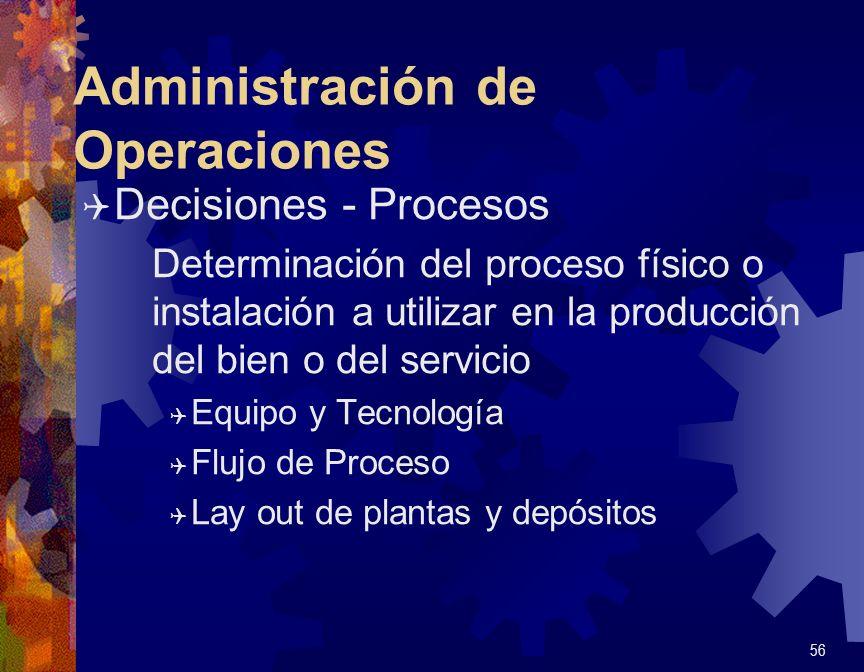 Administración de Operaciones Q Decisiones - Capacidad Suministro de la capacidad en cantidad, lugar y momento correcto Q Largo plazo: Inversiones o Ventas de máquinas e instalaciones.