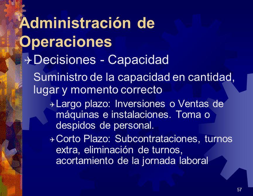 Administración de Operaciones Q Decisiones - Capacidad Suministro de la capacidad en cantidad, lugar y momento correcto Q Largo plazo: Inversiones o V