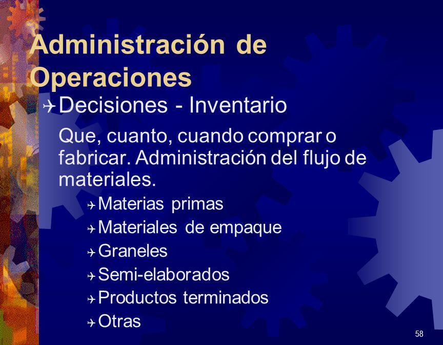 Administración de Operaciones Q Decisiones - Mano de Obra Las mas importantes de las decisiones a tomar.