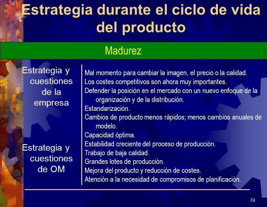 Estrategia durante el ciclo de vida del producto Estrategia y cuestiones de la empresa Estrategia y cuestiones de OM 75 Es vital controlar el coste.
