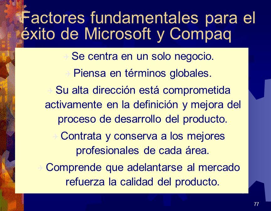 Factores fundamentales para el éxito de Microsoft y Compaq Q Se centra en un solo negocio. Q Piensa en términos globales. Q Su alta dirección está com