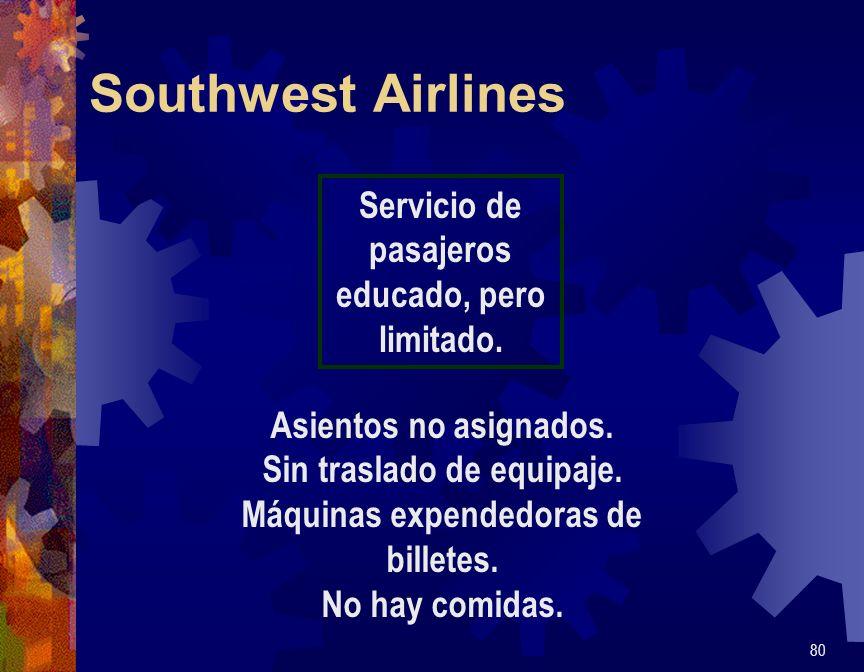 Southwest Airlines 80 Servicio de pasajeros educado, pero limitado. Asientos no asignados. Sin traslado de equipaje. Máquinas expendedoras de billetes