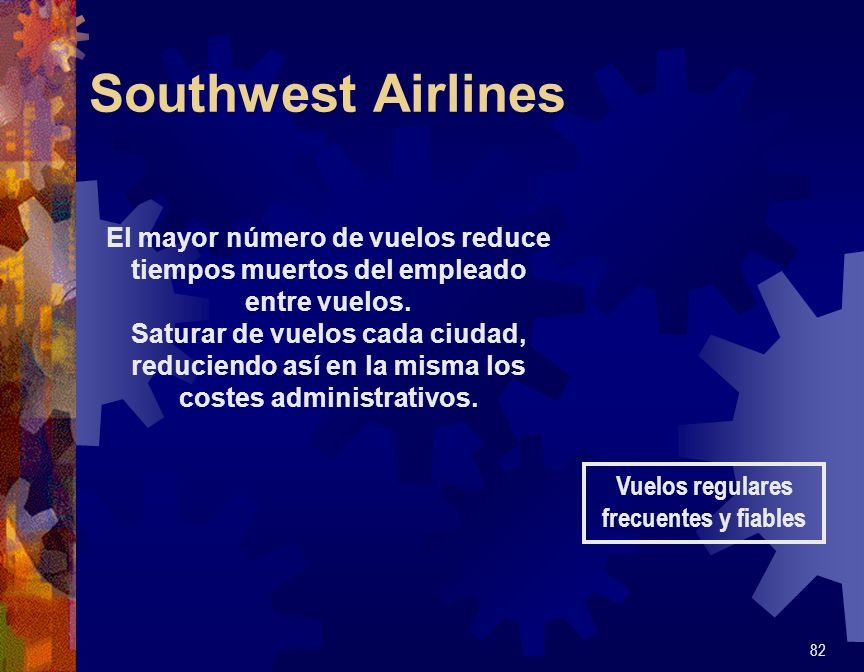 Southwest Airlines 82 Vuelos regulares frecuentes y fiables El mayor número de vuelos reduce tiempos muertos del empleado entre vuelos. Saturar de vue