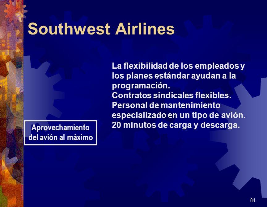 Southwest Airlines 84 Aprovechamiento del avión al máximo La flexibilidad de los empleados y los planes estándar ayudan a la programación. Contratos s