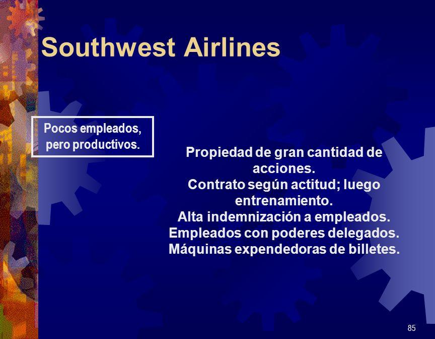 Southwest Airlines 85 Pocos empleados, pero productivos. Propiedad de gran cantidad de acciones. Contrato según actitud; luego entrenamiento. Alta ind