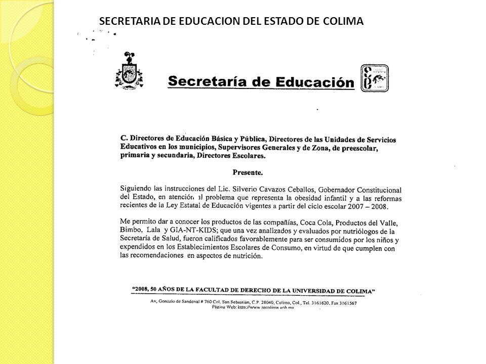 SECRETARIA DE EDUCACION DEL ESTADO DE COLIMA