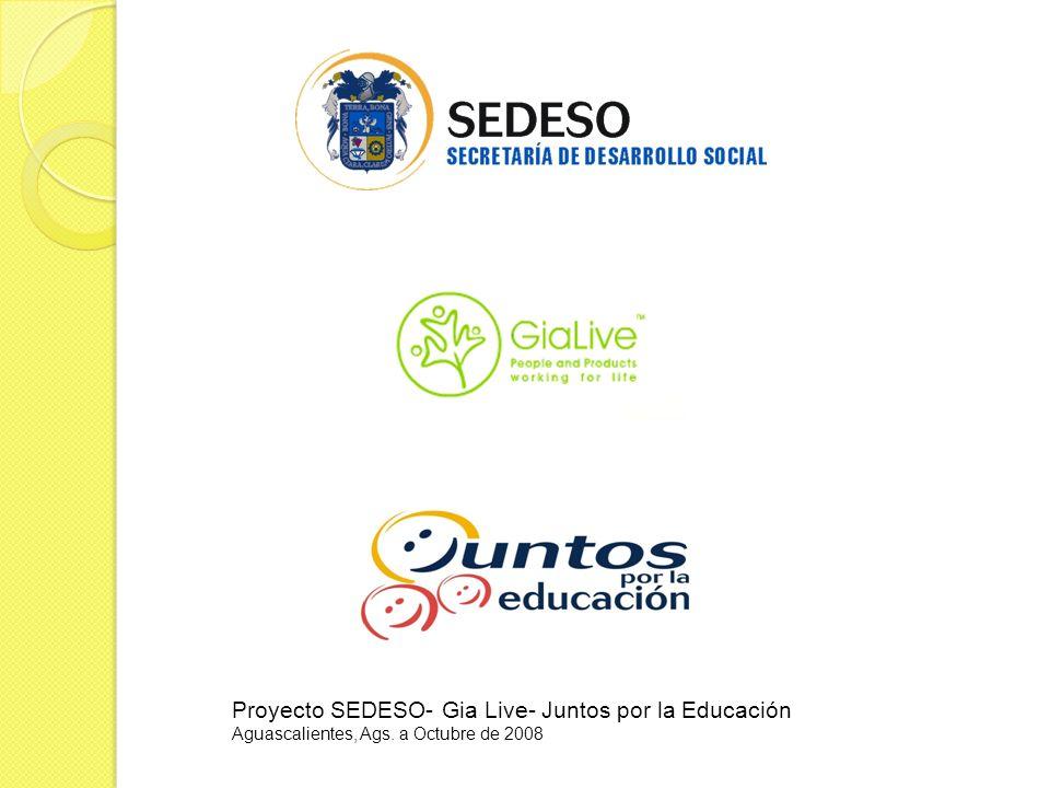 Proyecto SEDESO- Gia Live- Juntos por la Educación Aguascalientes, Ags. a Octubre de 2008