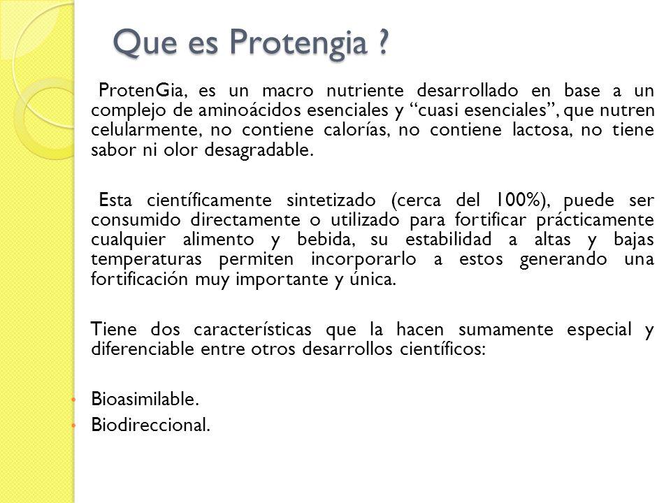 Que es Protengia ? ProtenGia, es un macro nutriente desarrollado en base a un complejo de aminoácidos esenciales y cuasi esenciales, que nutren celula