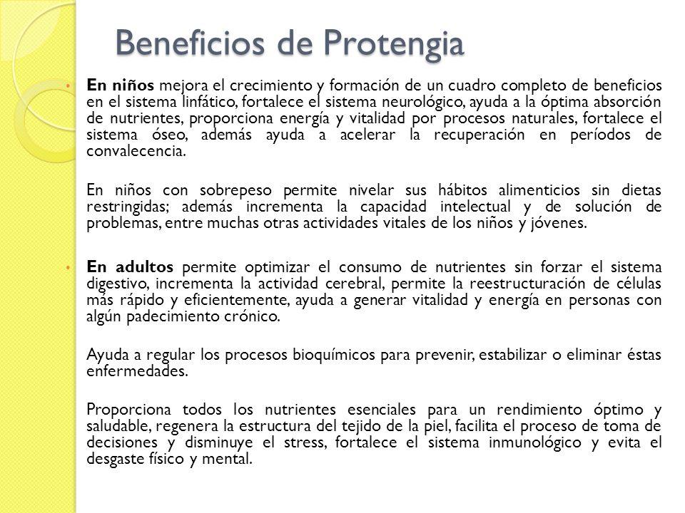 Beneficios de Protengia En niños mejora el crecimiento y formación de un cuadro completo de beneficios en el sistema linfático, fortalece el sistema n