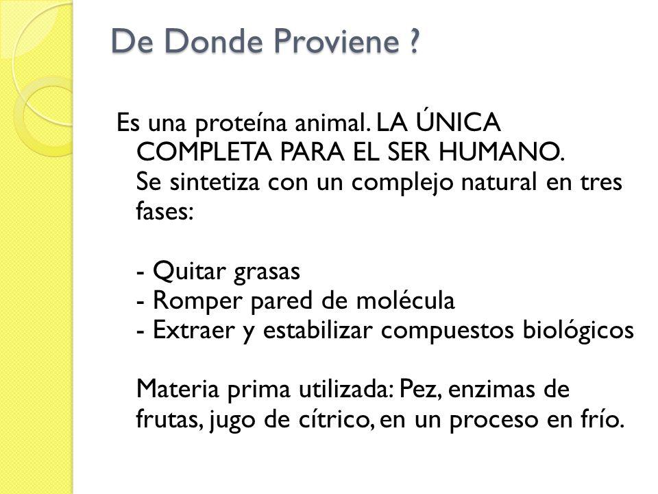 De Donde Proviene ? Es una proteína animal. LA ÚNICA COMPLETA PARA EL SER HUMANO. Se sintetiza con un complejo natural en tres fases: - Quitar grasas