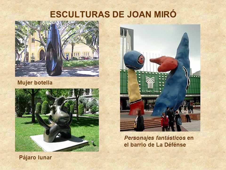 ESCULTURAS DE JOAN MIRÓ Mujer botella Pájaro lunar Personajes fantásticos en el barrio de La Défénse