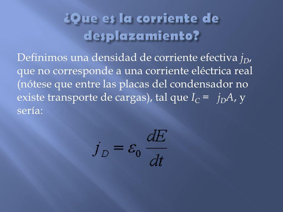Definimos una densidad de corriente efectiva j D, que no corresponde a una corriente eléctrica real (nótese que entre las placas del condensador no ex