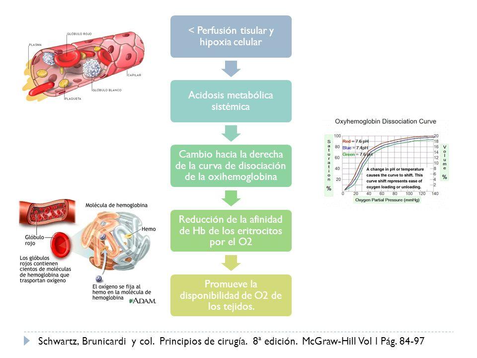 < Perfusión tisular y hipoxia celular Acidosis metabólica sistémica Cambio hacia la derecha de la curva de disociación de la oxihemoglobina Reducción
