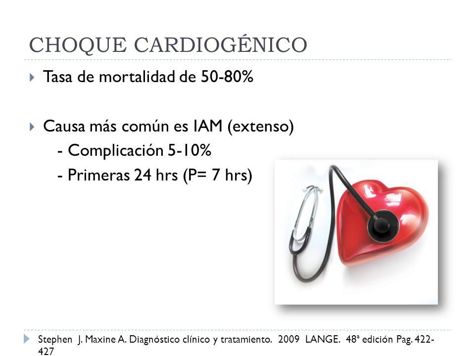 CHOQUE CARDIOGÉNICO Tasa de mortalidad de 50-80% Causa más común es IAM (extenso) - Complicación 5-10% - Primeras 24 hrs (P= 7 hrs) Stephen J. Maxine