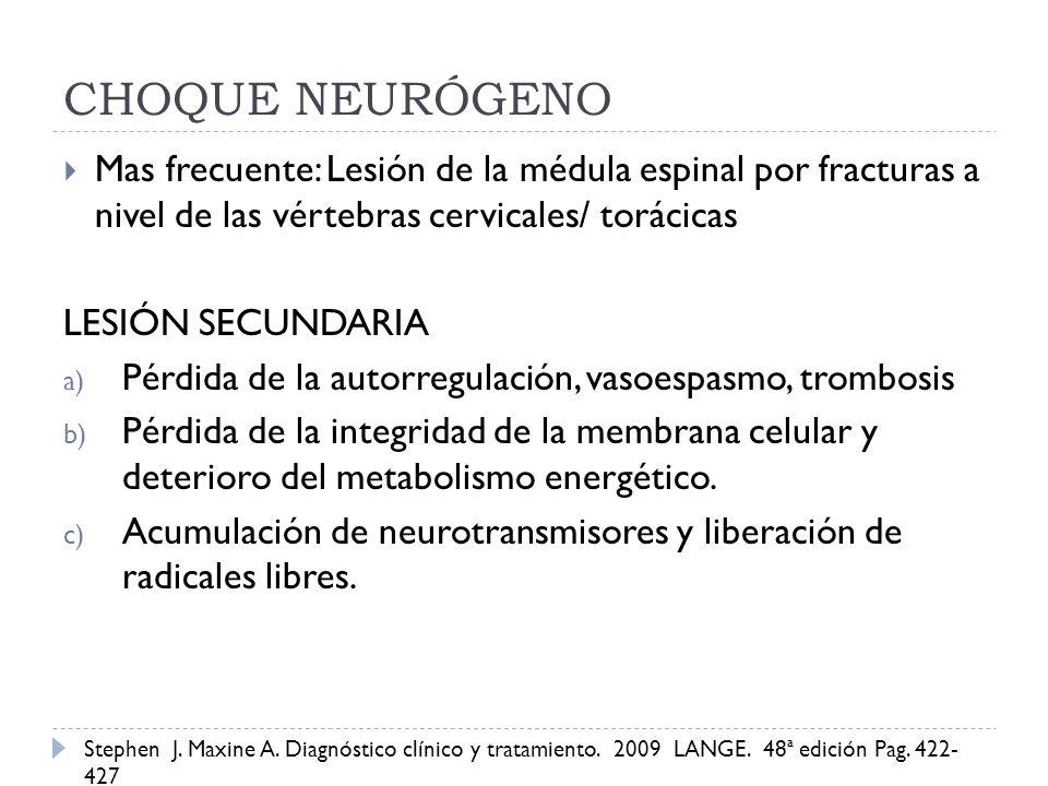 Mas frecuente: Lesión de la médula espinal por fracturas a nivel de las vértebras cervicales/ torácicas LESIÓN SECUNDARIA a) Pérdida de la autorregula