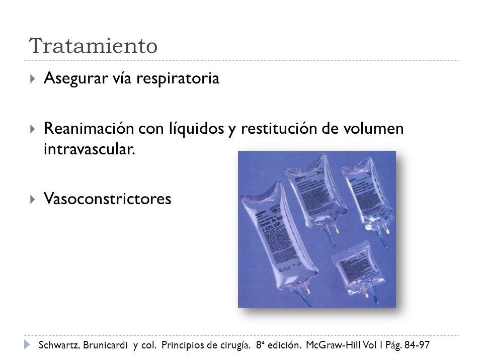 Tratamiento Asegurar vía respiratoria Reanimación con líquidos y restitución de volumen intravascular. Vasoconstrictores Schwartz, Brunicardi y col. P