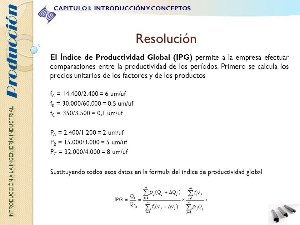 IPG = (2x1.500) + (5x2.000) + (8x4.250) x (6x2.200) + (0,5x70.000) + (0,1x3.600) x (6x2.400) + (0,5x60.000) + (0,1x3.500) = 47.000 x 44.750 (2x1.200) + (5x3.000) + (8x4.000) 48.560 49.400 IPG = 0,96787479 x 0,90587045 = 0,87676918 IPG = 0,8768 La productividad del año 1 (uno) ha sido el 87,68% de lo que fue en el año 0.