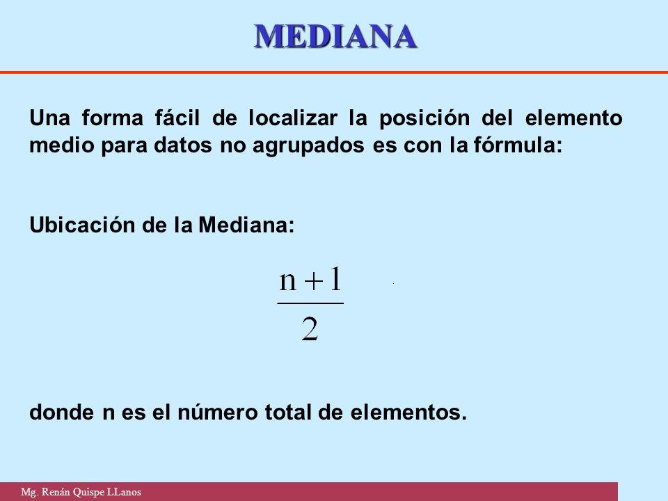 MEDIANA Una forma fácil de localizar la posición del elemento medio para datos no agrupados es con la fórmula: Ubicación de la Mediana: donde n es el